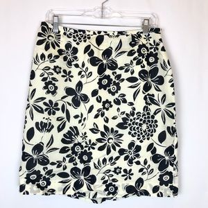 Ann Taylor 12 Pencil Skirt Cream Black Floral A